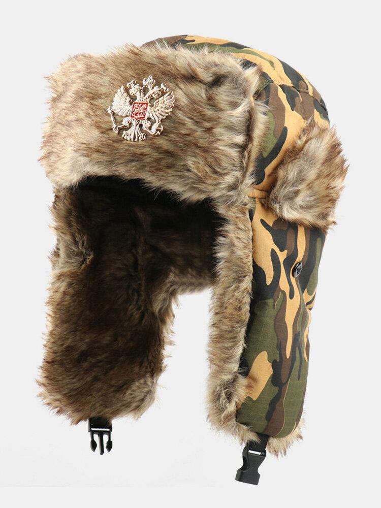 メンズカモ防寒冬用トラッパーハット厚手の冬用ハット耳保護トラッパーハット