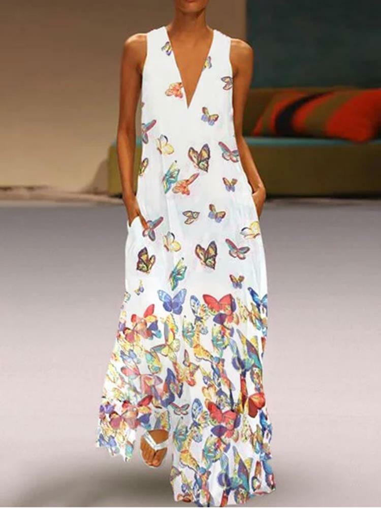 70b15477e35dd Robe imprimée pas cher - Robe longue sans manches imprimée papillon bohème  pour femme - NewChic