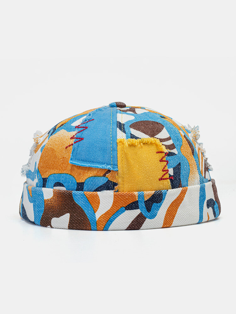 Coton unisexe Colorful Motif Graffiti Patch Imprimé Trou Cassé Bonnet Sans Bord Casquette De Propriétaire Casquette Crâne