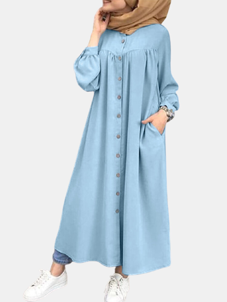 Casual Solid Color Crewneck Button Plus Size Dress with Pockets