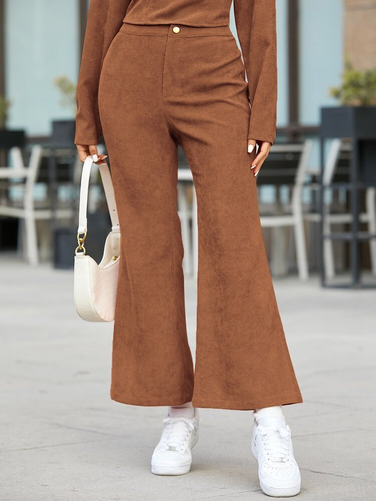 Solid Color Button Vintage Bell Bottom Casual Pants For Women