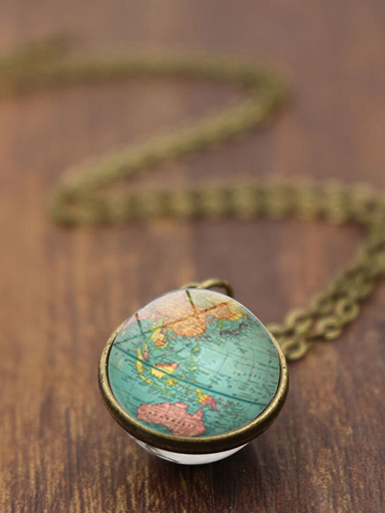 Double-Sided Glass Ball Women Necklace World Map Pendant Necklace Sweater Chain