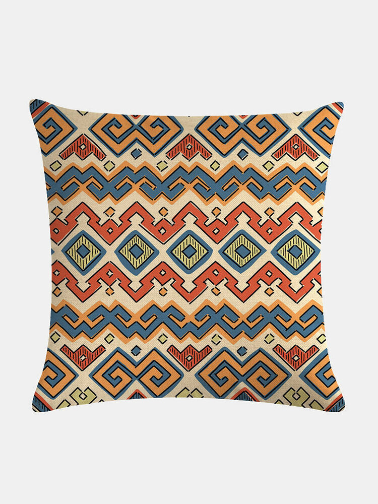 Bohemian Geometric Pattern Linen Cushion Cover Home Sofa Art Decor Throw Pillowcase