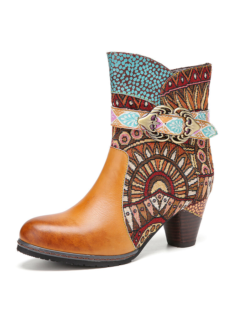 SOCOFY Retro Tribal Pattern Cloth Splicing Solid Color Genuine Leather Round Toe Short Boots