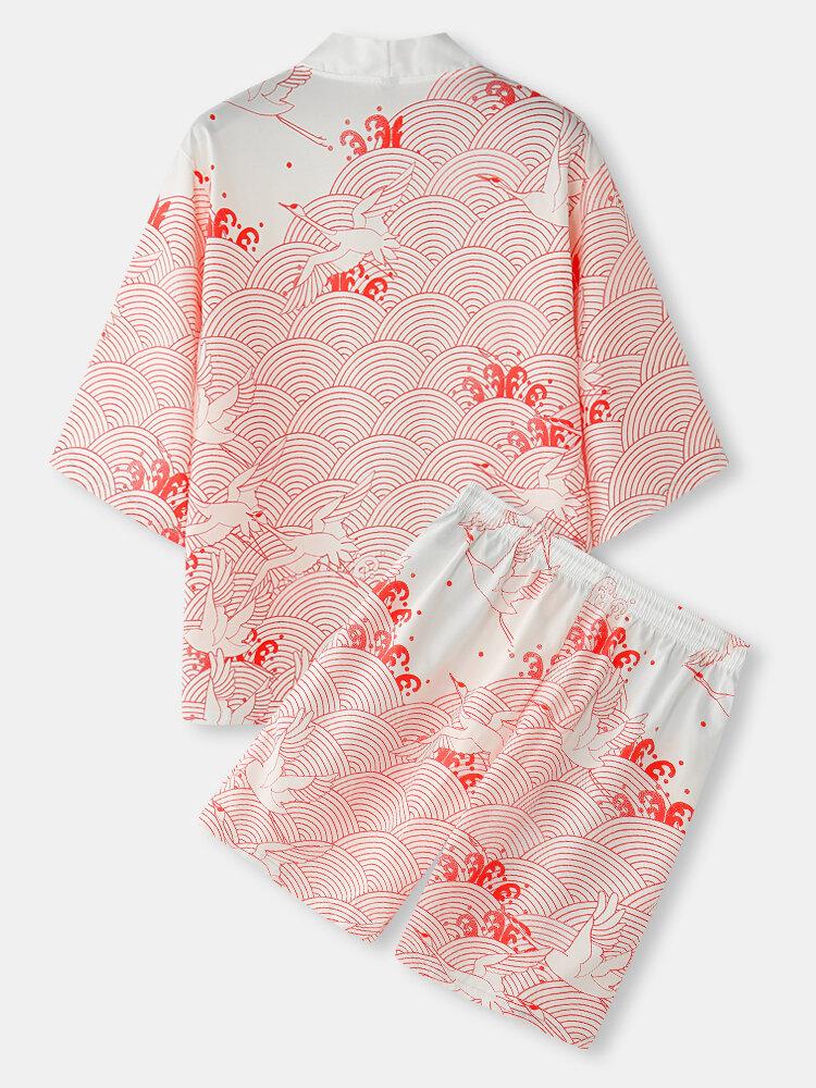 Mens Crane Propitious Clouds Pattern Kimono & Drawstring Shorts Holiday Co-ords
