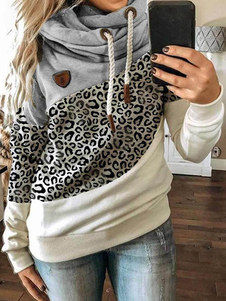 Casual Leopard Print Patchwork Plus Size Hoodie
