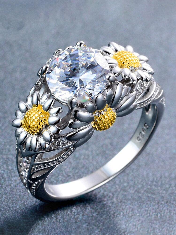 Elegant Zircon Inlaid Gold Daisy Hollow Platinum Rings Topaz Zirconia Rings for Women Gift