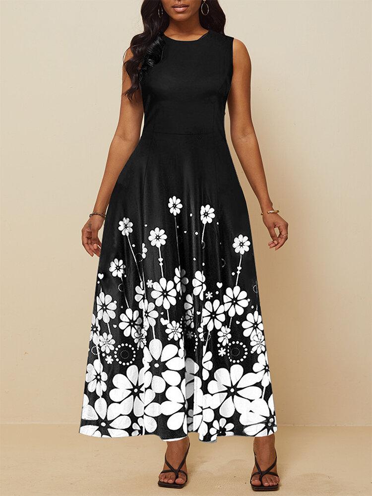 フラワープリントノースリーブの大きなスイングドレスの女性のパーティードレス