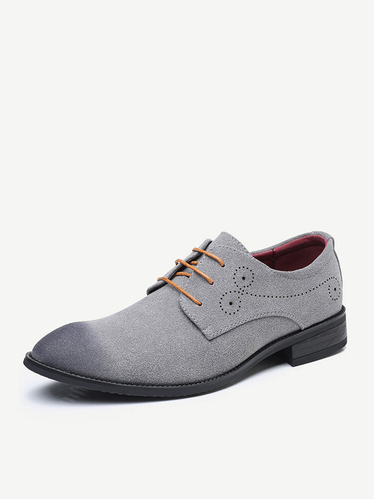 Men Carved Leather Non Slip Large Size Casual Formal Shoes