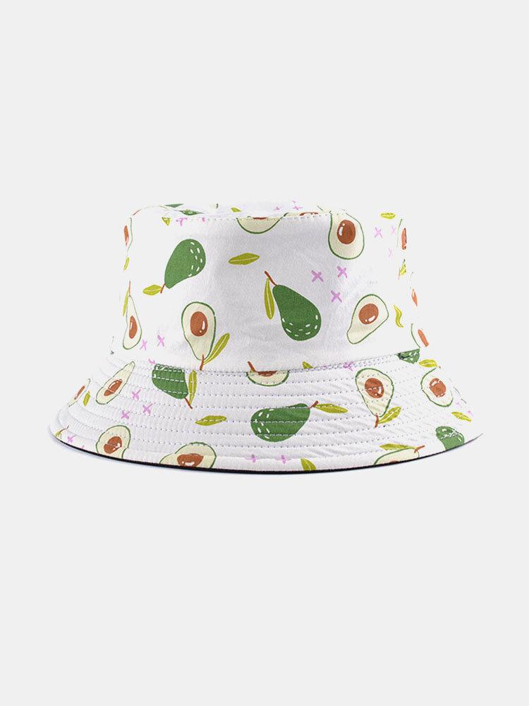 Unisex Cotton Cartoon Fruit Pattern Printing Fashion Sunshade Bucket Hat