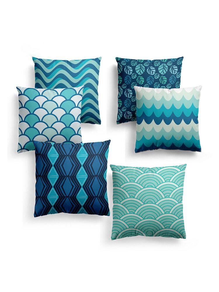 Blue Geometric Strips Plaids Cushion Cover Nordic Line Waves Sofa Throw Pillowcase