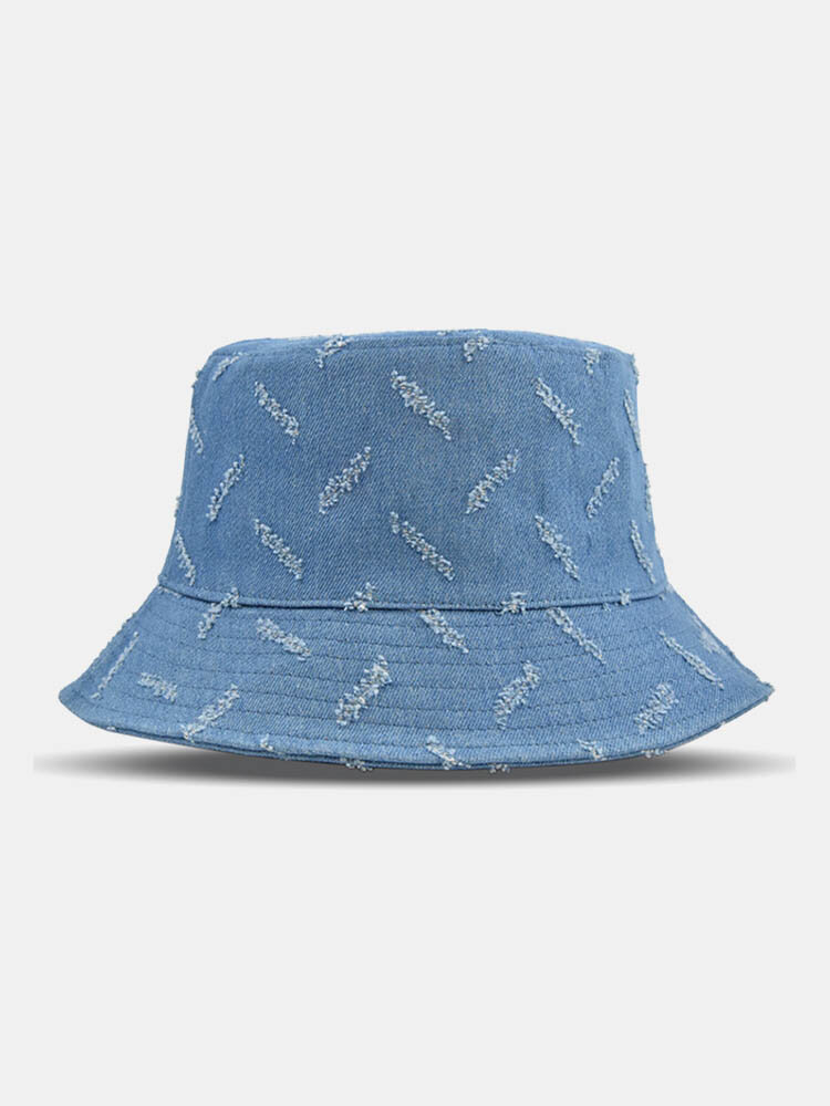 Unisex Denim Solid Color Ripped Holes Frayed Edges Fashion Made-old Bucket Hat