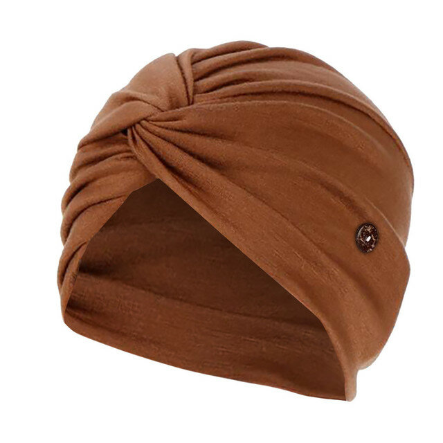 Solid Color Elastic Cap Beanie Hat Anti Ear Straps With Button