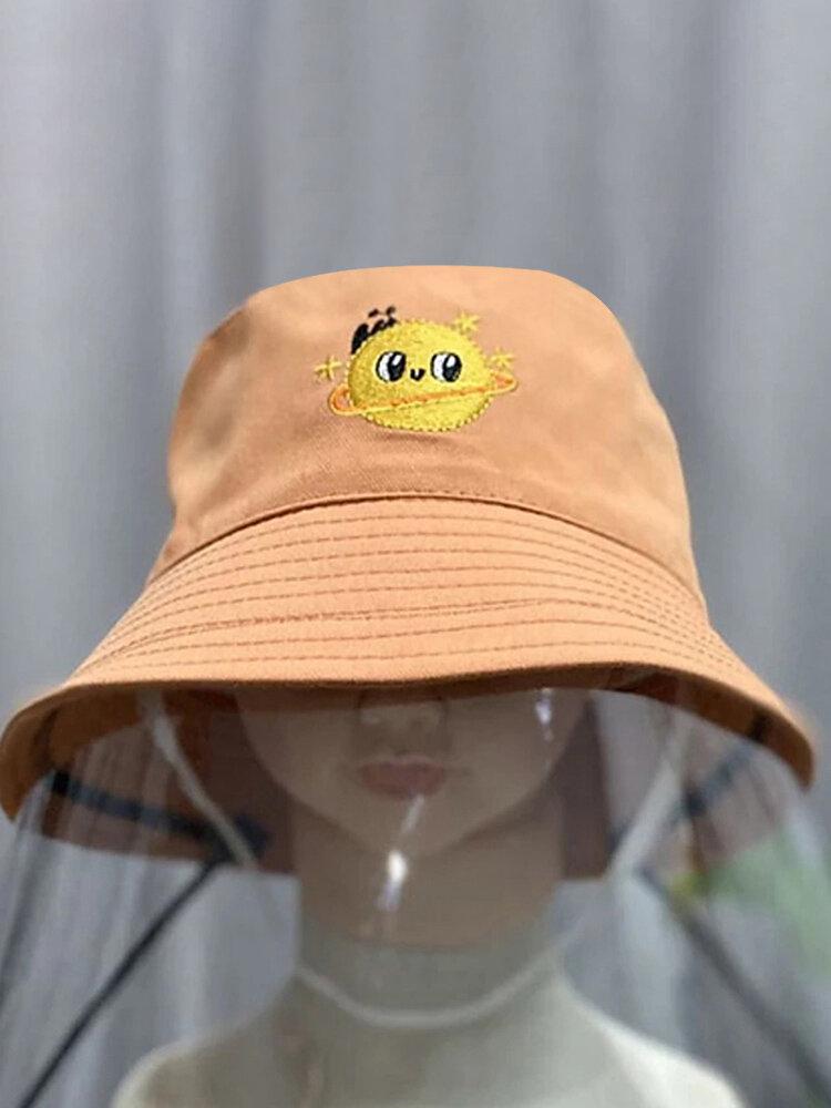 Children's Embroidery Fisherman Hat Transparent Dustproof Hat