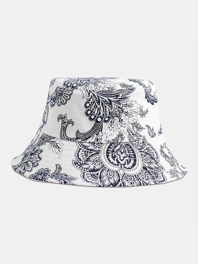 Unisex Cotton Line Drawing Cashew Flower Print Vintage Fashion Sun Protection Bucket Hat