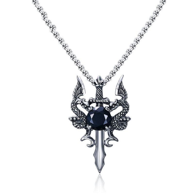 Vintage Pendant Necklace Stainless Steel Black Zircon Sword Charm Necklace Ethnic Jewelry for Men