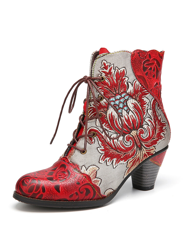 SOCOFY Retro Embossed Genuine Leather Flower Embroidery Splicing Chunky Heel Short Boots
