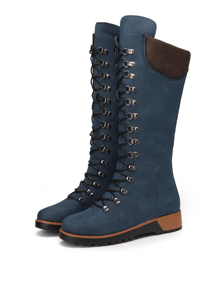 Women Casual Elegant Comfortable Flat Lace Up Mid-Calf Boots