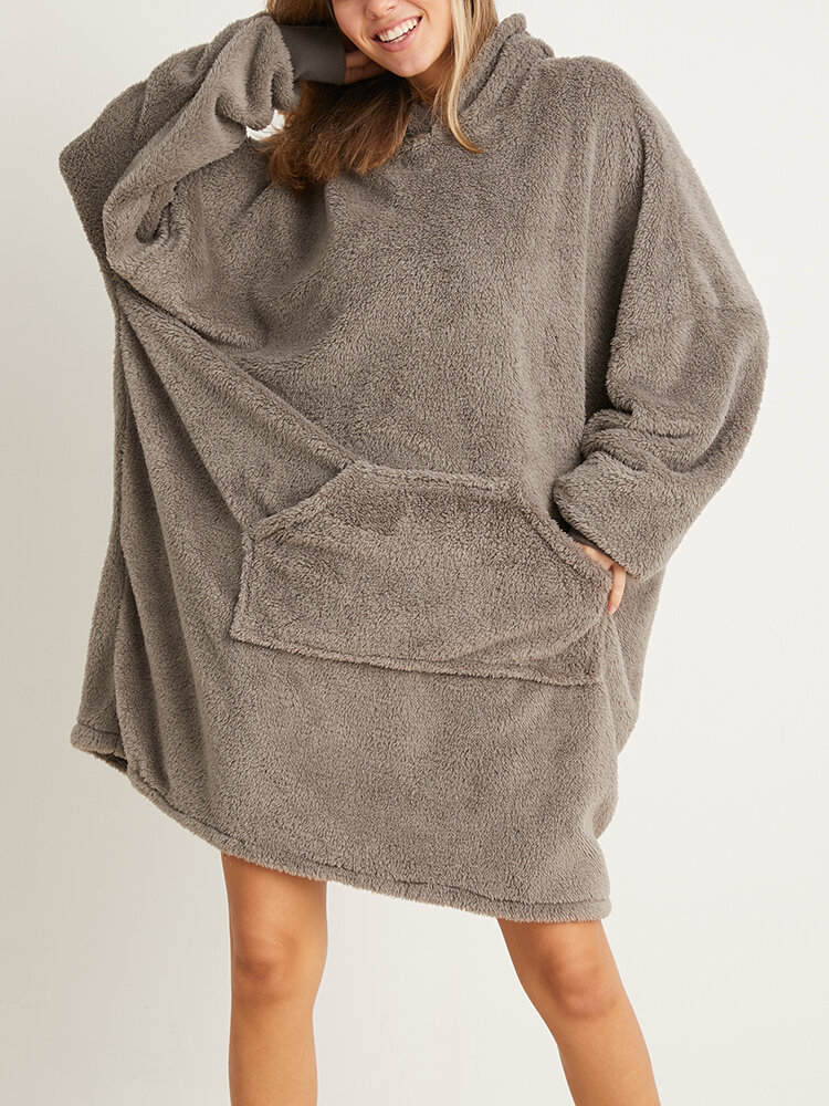 Women Bedsure Cozy Oversized Wearable Blanket Hoodie Warm Double Plush Robe With Large Front Pocket