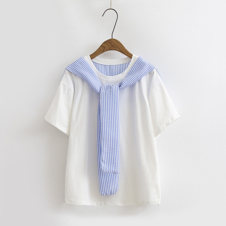 Shawl Lace Fake two pieces Stripe splicing Sailor Collar Short Sleeve T-shirts