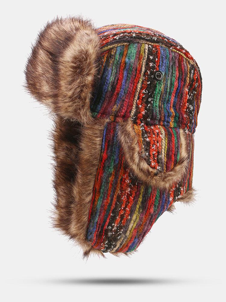 Women Wool Tie-dye Warm Windproof Ear Protection Outdoor Riding Ski Trapper Hat