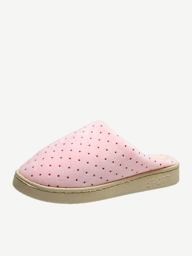 Women Casual Dot Closed Toe Slip Resistant Winter Warm Home Slippers