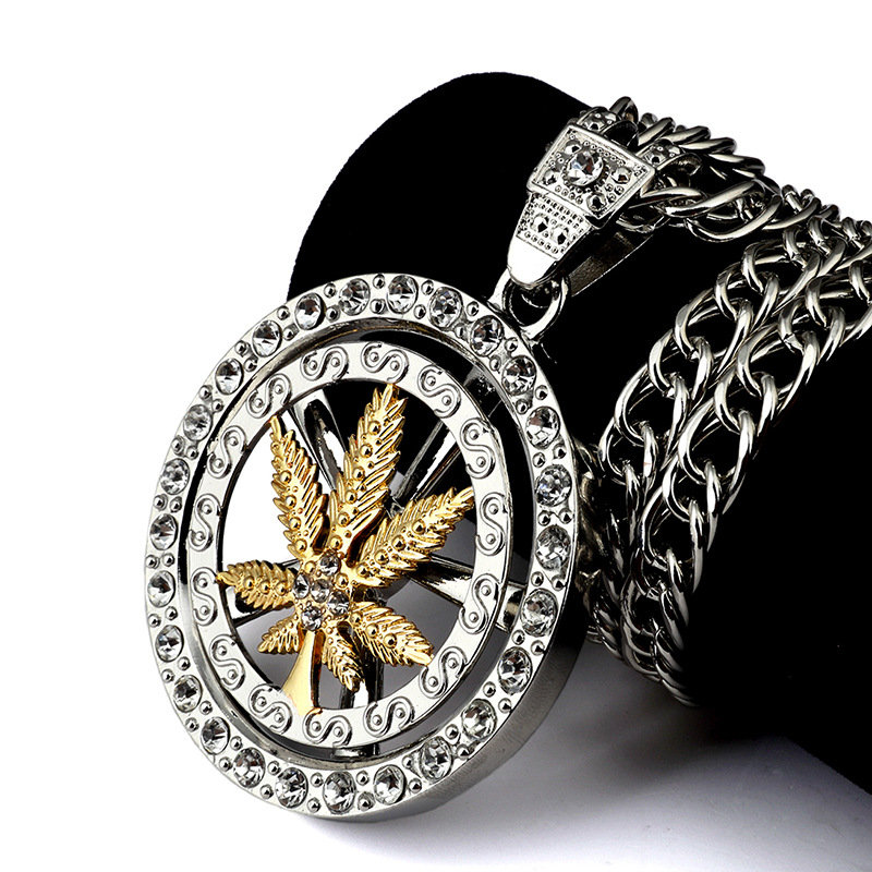 Men's Maple Leaf Pendant Rock Steampunk Chain Long Chunky Necklace