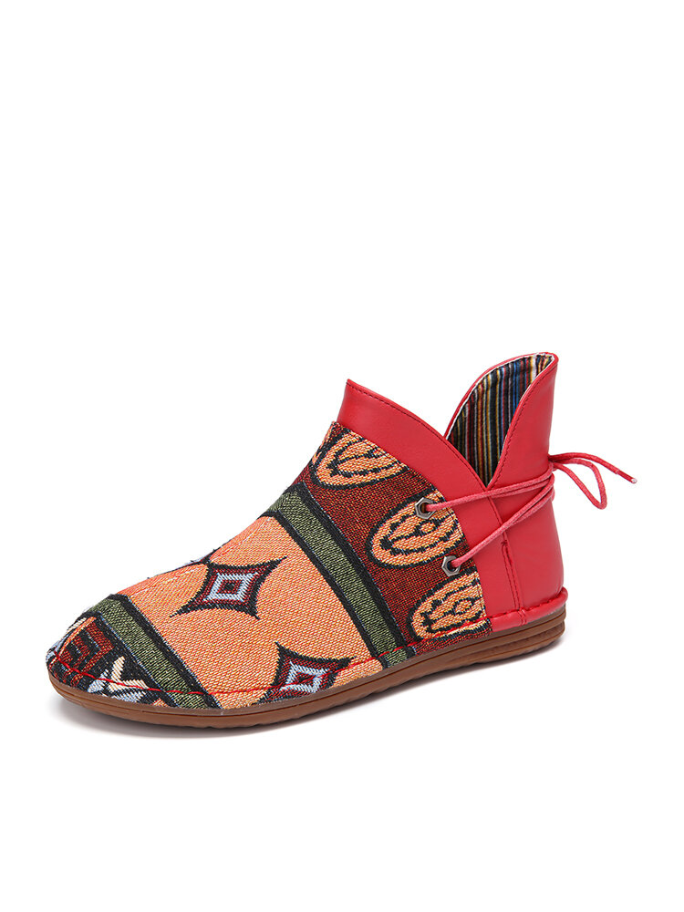 SOCOFY Cloth Pattern Splicing Retro Folkways Lace Up Slip On Comfy Ankle Boots