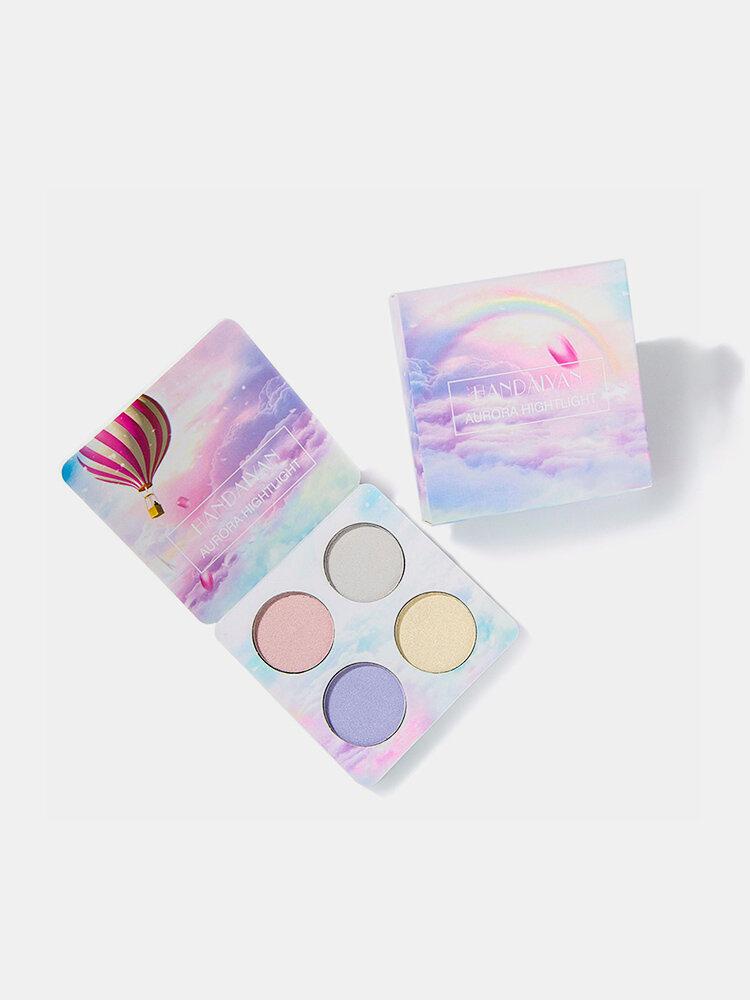 4色ハイライトパレットシマーグリッターアイシャドウパレットグローフェイスパウダーパレットフェイス化粧品