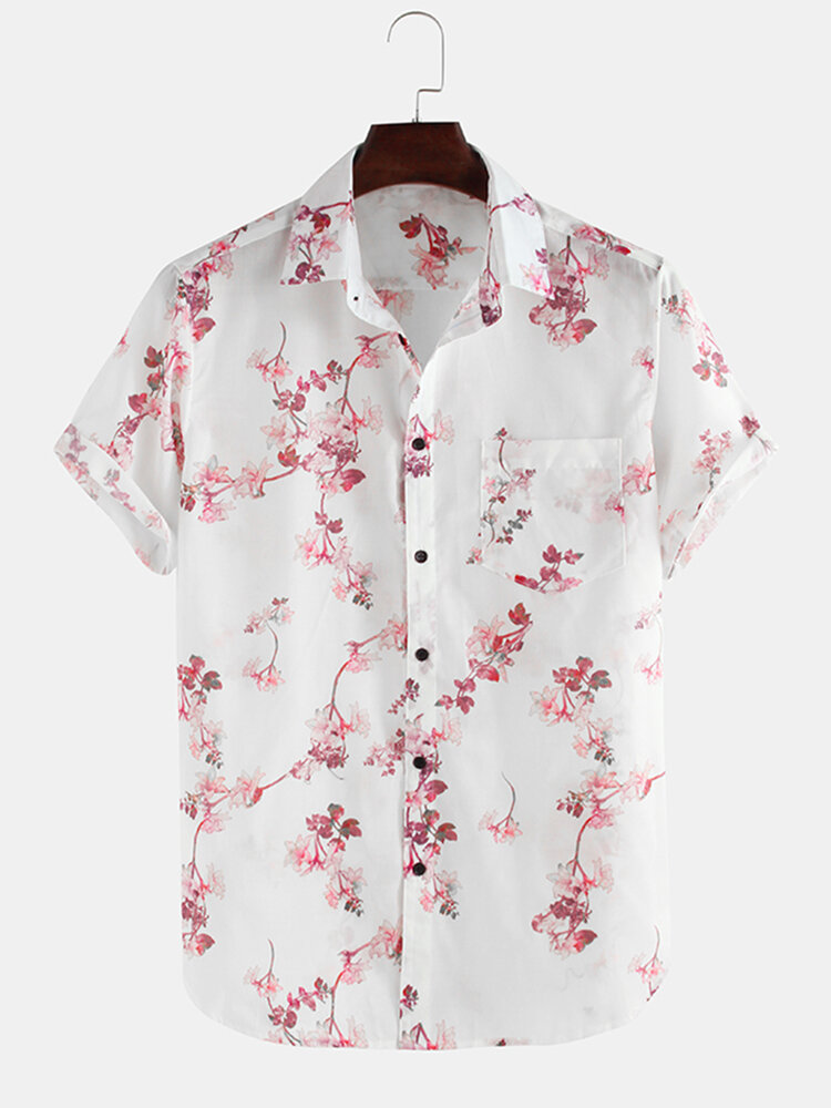 Flowers Printed Breathable Loose Short Sleeve Lapel Shirt