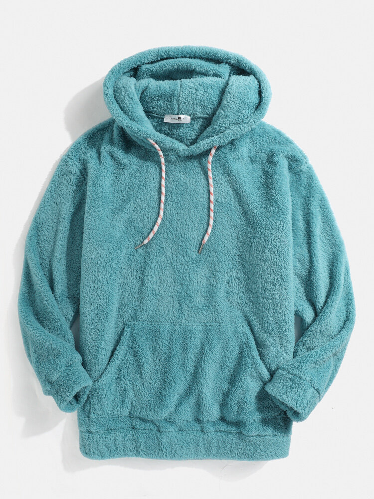 Mens Solid Color Fleece Fluffy Elastic Hem Pouch Pocket Teddy Hoodie