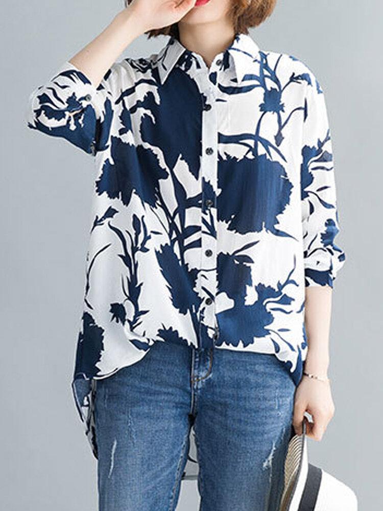 قميص نسائي بأكمام طويلة وطبعة فلاور كاليكو Plus