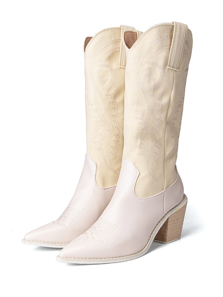 Embroidered Pointed Toe Chunky Heel Slip-on Western Cowboy Boots for Women