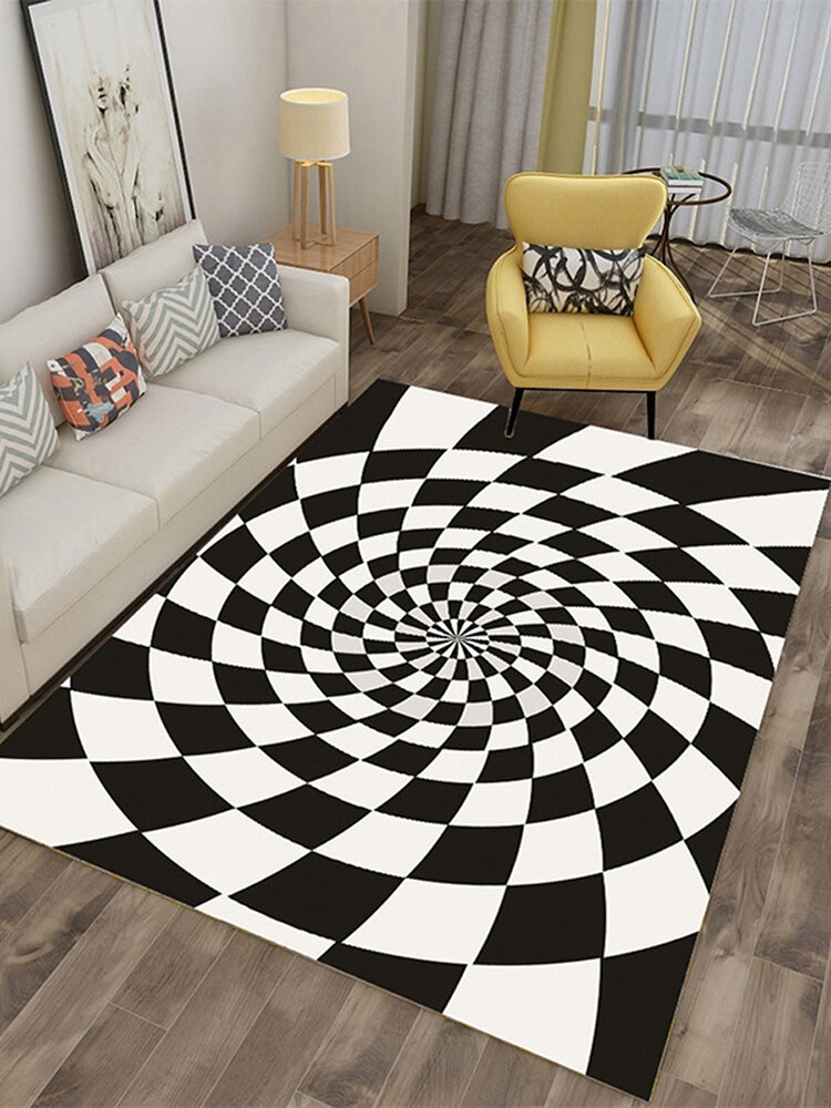 Karierte optische Täuschungen Rutschfester Teppich, Durbale Anti-Rutsch-Bodenmatte Vlies Schwarz-Weiß-Fußmatte, für Wohnzimmer Esszimmer Schlafzimmer Küche