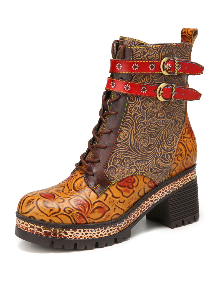 SOCOFY Vintage Floral Embossed Genuine Leather Warm Lining Casual Platform Chunky Heel Short Boots