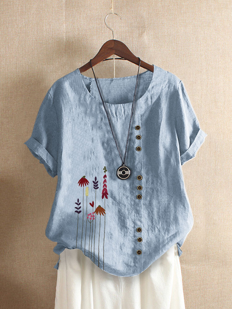 Leaf Embroidery Short Sleeve O-neck T-shirt For Women
