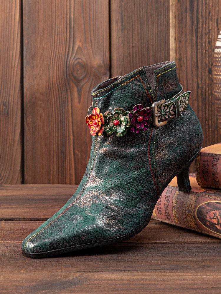Socofy Women Retro Leather Floral Buckle Design Metallic Luster Pointed Toe Side-zip Low Cone Heel Comfy Boots