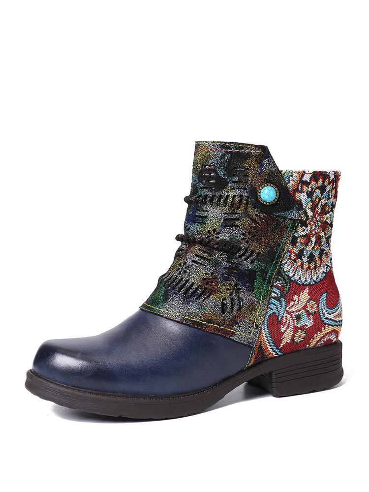 SOCOFY Retro Genuine Leather Splicing Fancy Pattern Zipper Flat Short Boots