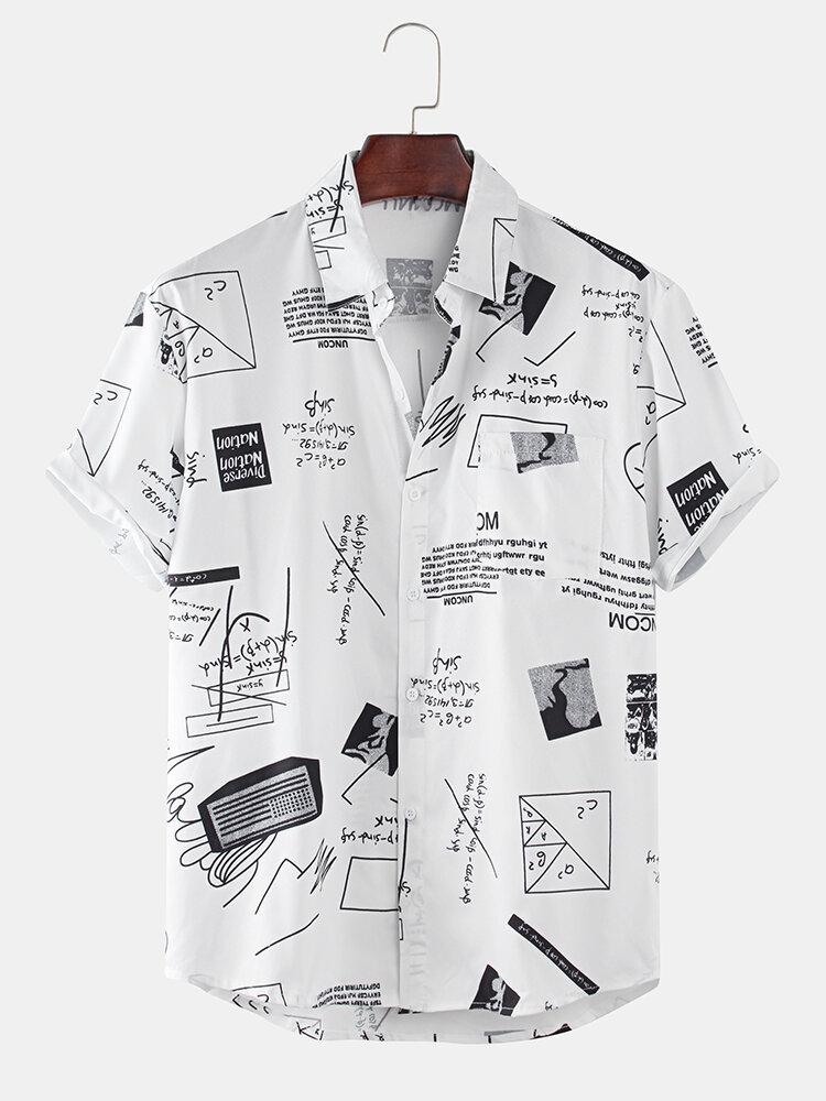 Mens Funny Abstract Cartoon Slogan Chest Pocket Short Sleeve Shirts