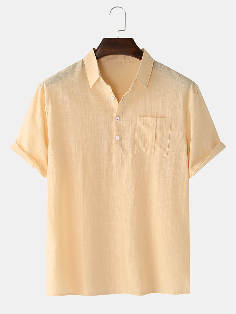 Mens Solid Color Light & Casual Chest Pocket Lapel Collar Henley Shirts
