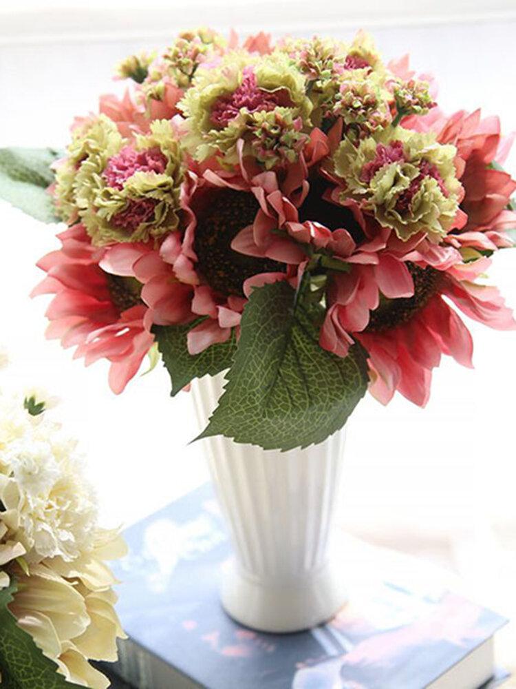 9 cabeças de girassol cravos flores artificiais buquê de plantas festa nupcial decoração de casa de casamento