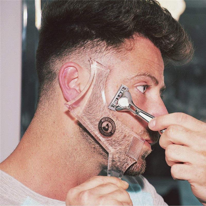 Шаблон для формирования бороды Двусторонняя расческа для укладки бороды Расческа для формирования бороды Волосы Уход Инструмент