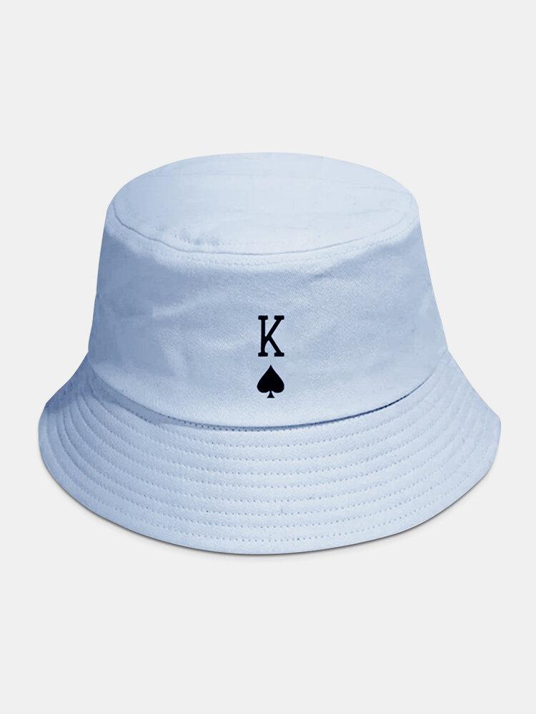 Unisex Baumwolle Poker Element Musterdruck Volltonfarbe Sonnencreme Einfacher Eimer Hut