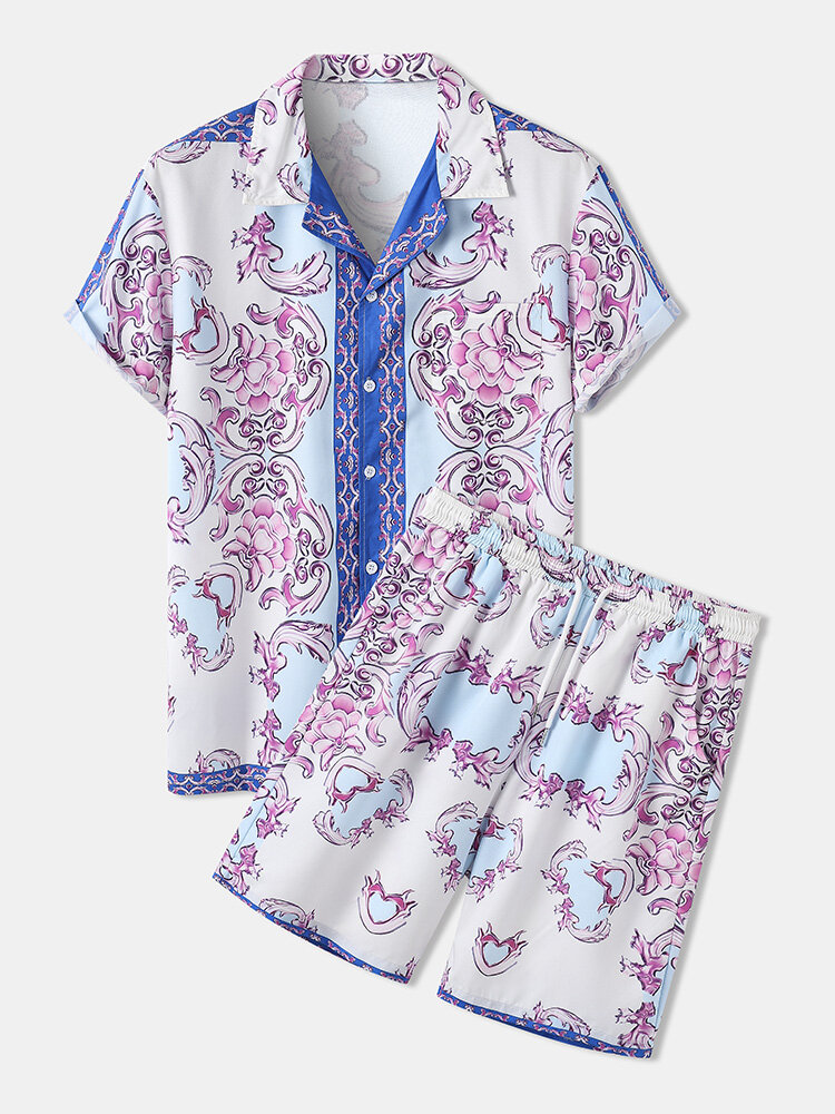 Mens Pink Baroque Print Vintage Revere Collar Two Pieces Outfits