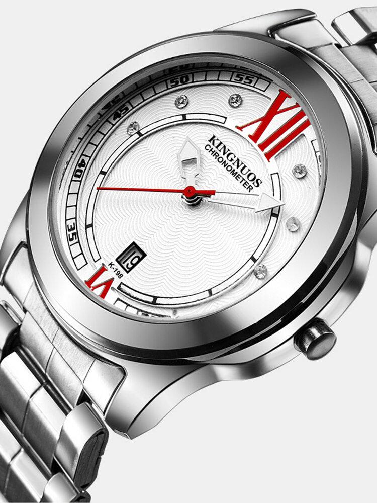 Luxury Mens Silver Watches Life Waterproof Diamond Inlay Date Stainless Steel Quartz Watch