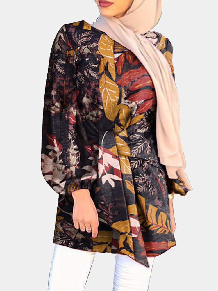 Ethnic Leaf Print Puff Sleeves Casual Blouse For Women