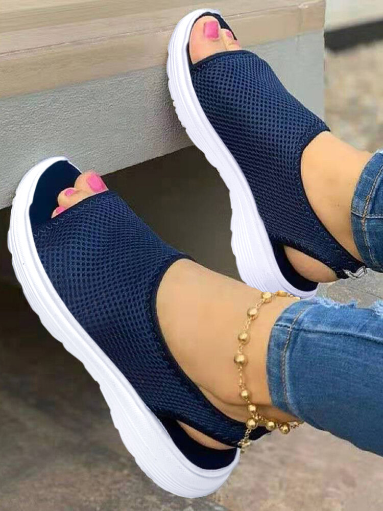 Women Breathable Knitted Fabric Peep Toe Comfy Slip On Sports Casual Sandals