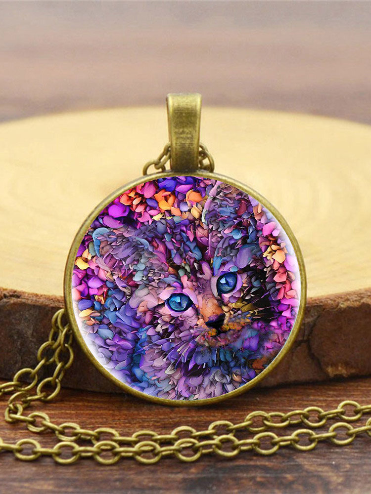 Vintage Glass Printed Women Necklace Purple Cat Pendant Necklace Jewelry Gift