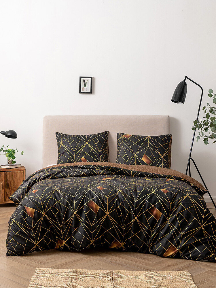 2/3Pcs Geometric Pattern Bedding Set Comforter Bed Cover Pillowcase Adults Bed Duvet Set Twin King