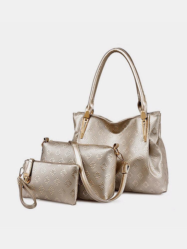 Women 3-set Fox Plaid Leather Crosssbody Bag